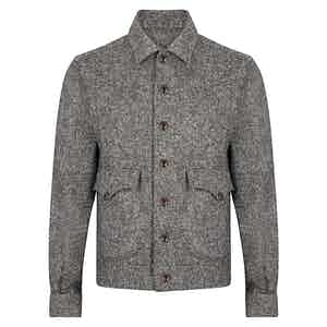 Grey Scotland Tweed Wool Bomber Jacket
