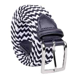 Blue/White Braided Viscose Belt Diego