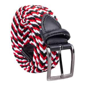 Red/White/Black Braided Viscose Belt Luigi