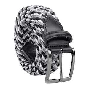 Black/White Braided Viscose Belt Pietro