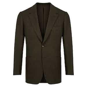 Green Herringbone Wool Jacket