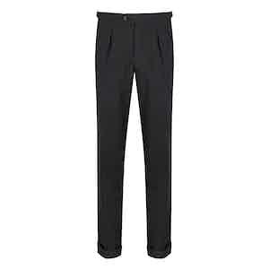 Charcoal High Twist Wool Trousers