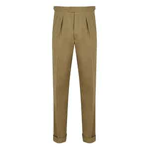 Fawn Ribbed Drill Brushed Cotton Trousers
