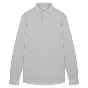 Grey Micro Jersey Polo Shirt