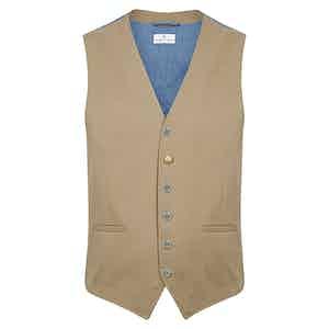 Beige Cotton Classico Waistcoat
