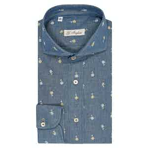 Light Blue Denim Chambray Embroidered Floral Shirt