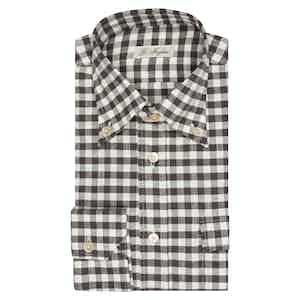 Dark Grey Gingham Western Shirt