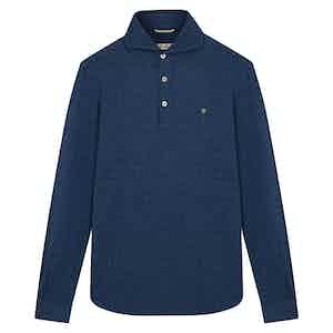 Blue Pique Polo Pullover