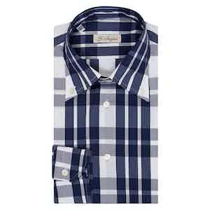 Navy Macro Check Button-Down Shirt