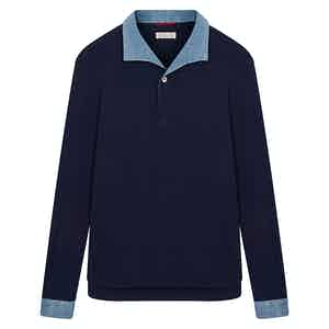 Navy Miami Polo Shirt with Denim Contrast Collar