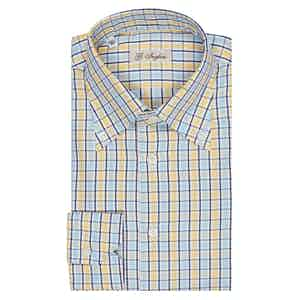 Light Blue and Yellow Graph Check Button-Down Shirt