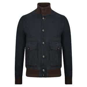 Navy and Brown Suede Bomber Jacket