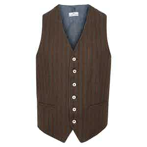 Dark Brown Striped Cotton Waistcoat