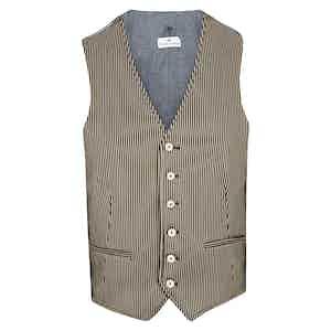 Black and Beige Striped Waistcoat