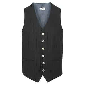 Black Striped Cotton Waistcoat