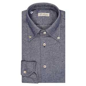 Indigo Warm Cotton Twill Button-Down Shirt