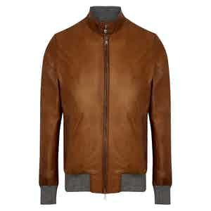 Brown and Grey Leather Bomber Jacket