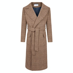 Brown Glencheck Wool Outer Gown