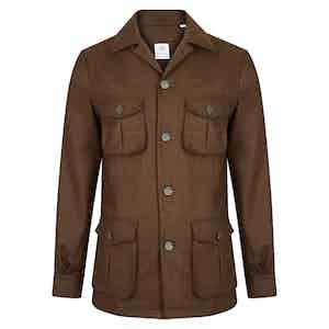 Brown Wool-Cashmere Blend Unstructured Traveller Jacket