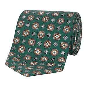 Green Medallion Print Silk Tie