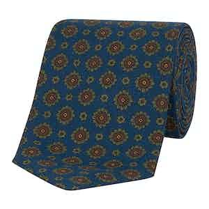 Royal Blue Medallion Print Silk Tie