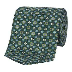 Dark Green Medallion Print Silk Tie
