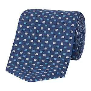 Blue and White Floral Print Silk Tie