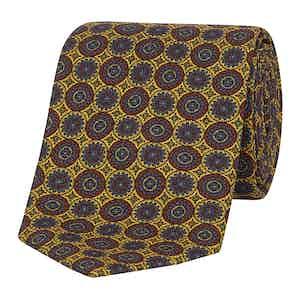 Pineapple Yellow Medallion Print Silk Tie