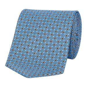 Turquoise Floral Print Silk Tie