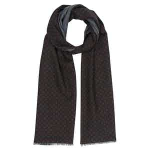 Navy and Red Dot Print Scarf