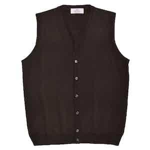 Brown Merino Wool Waistcoat