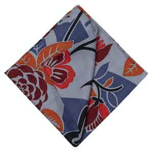 Light Blue and Orange Cotton Pocket Squareone size
