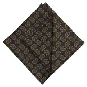 Green, Purple and Beige Cotton Pocket Squareone size