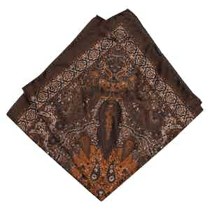 Brown, Orange and White Silk Pocket Squareone size