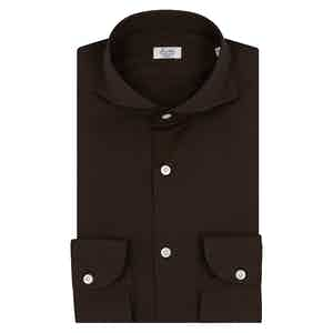 Brown Stretch Cotton Business Shirt