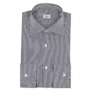Dark Blue and White Bengal Striped Business Shirt