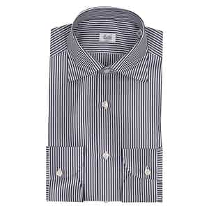 Dark Blue and White Bengal Striped Business Shirt