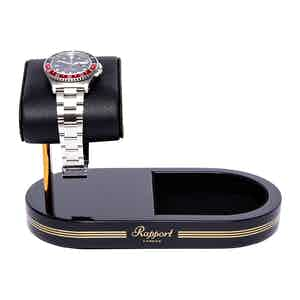 Black and Gold Metal & Leather Watch Stand with Tray