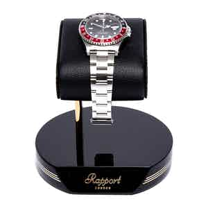 Black and Gold Metal & Leather Watch Stand