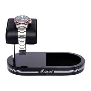 Black and Silver Metal & Leather Watch Stand with Tray