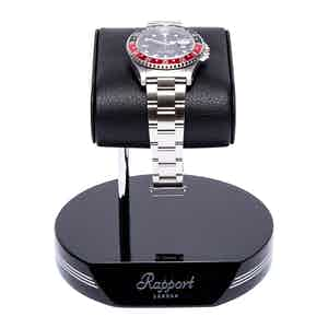 Black and Silver Metal & Leather Watch Stand