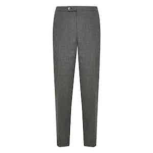 Grey Wool Flat Front Trouser
