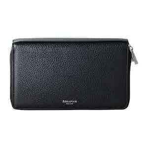 2 Zip Around Travel Wallet Black Cachemire Leather