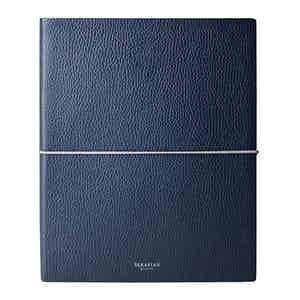 Blue Cachemire Leather Large Notebook