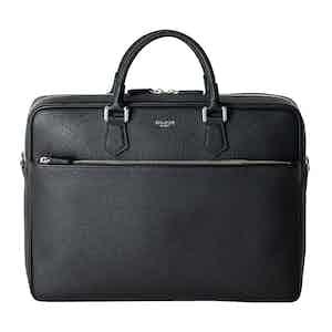 Ink Black Cachemire Leather Slim Briefcase