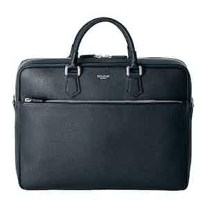 Navy Cachemire Leather Slim Briefcase