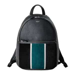Black & Forest Green Cachemire Leather Backpack
