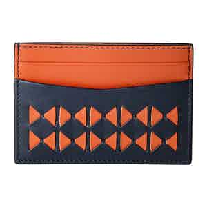 Black & Amaranth Mosaico Nappa Leather 4-Card Holder