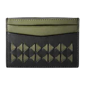 Eclipse Black & Green Mosaico Nappa Leather 4-Card Holder