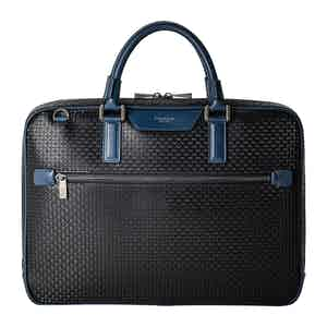 Black Stepan & Cosmo Blue Extra Slim Briefcase